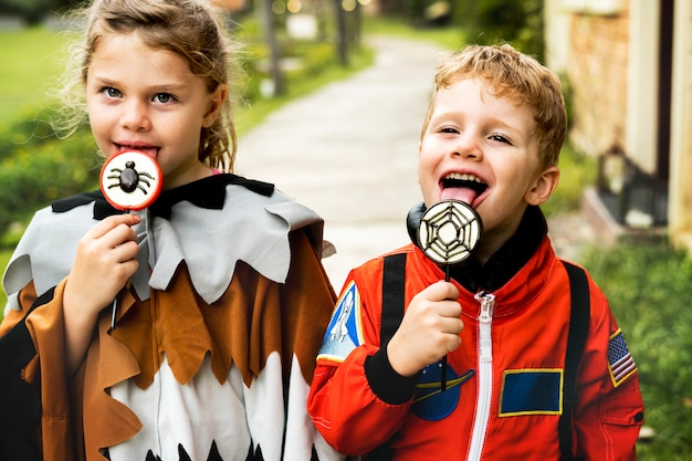 Little kids at halloween party Free Photo