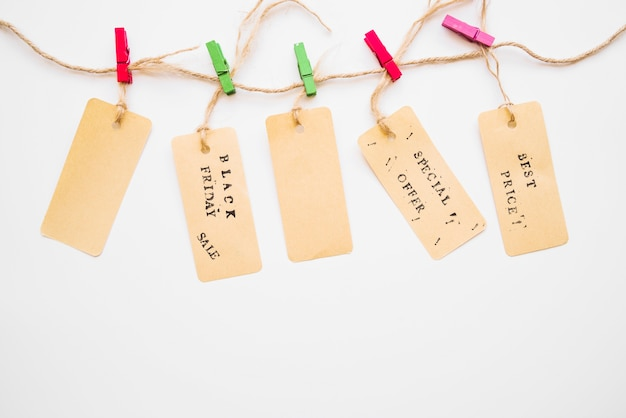 Little labels hanging on twist Free Photo