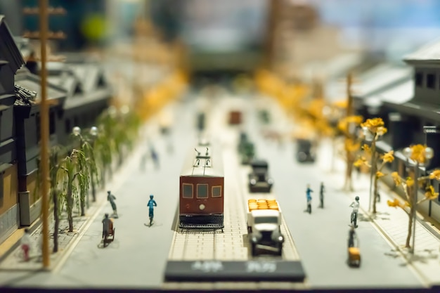 A little model of architecture and transportation of japan, is showing in museum Premium Photo