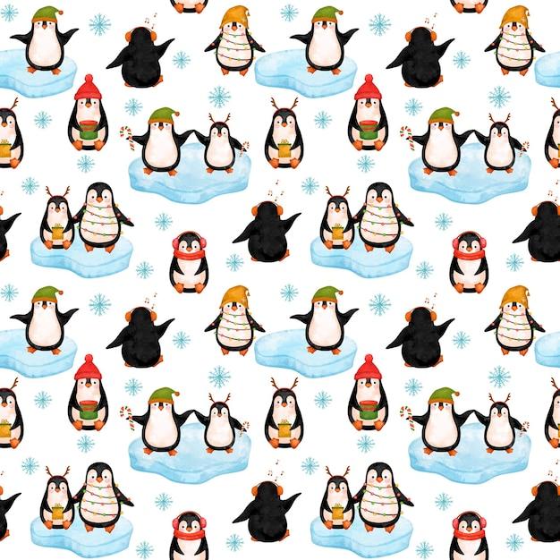 Little penguins digital paper, christmas penguins seamless pattern. Premium Photo