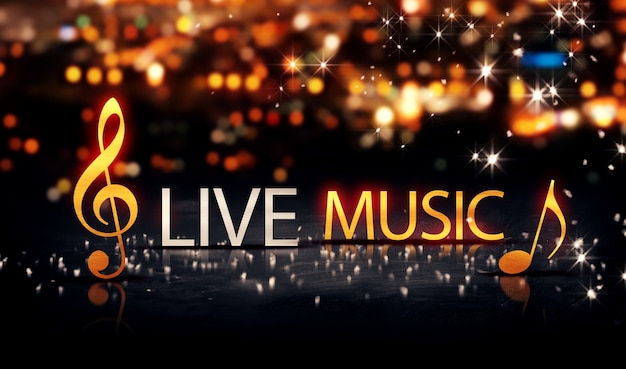 Live music gold silver city bokeh star shine yellow background Premium Photo