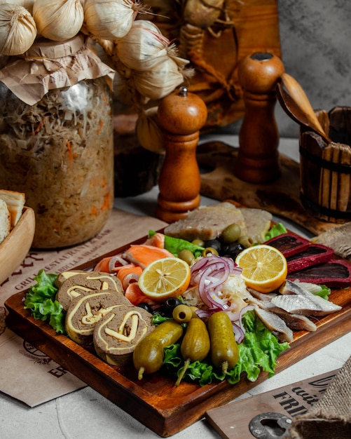 Liver pate with pickles and fish Free Photo