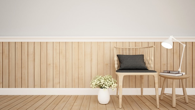 Living area in apartment  or coffee shop - 3d rendering Premium Photo
