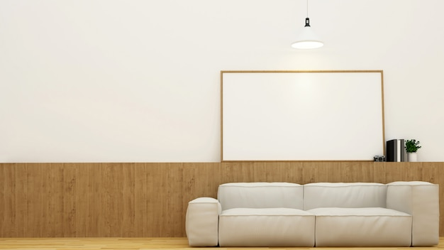 Living area or coffee shop and frame for artwork - 3d rendering Premium Photo