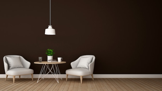 Living area in lounge or cafe - 3d rendering Premium Photo