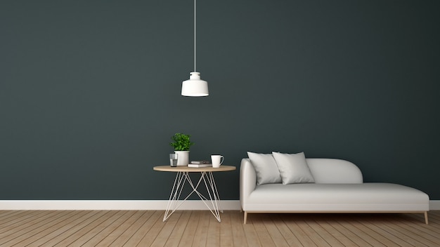 Living area in lounge or ccoffee shop - 3d rendering Premium Photo