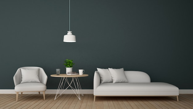 Living area in lounge or coffee shop - 3d rendering Premium Photo