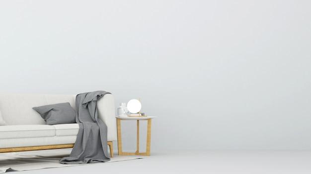 Living area in white room - 3d rendering Premium Photo