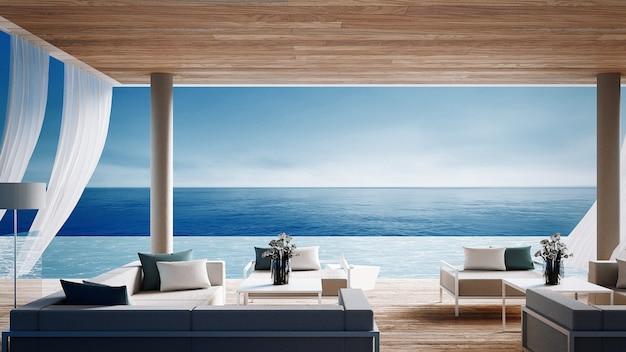 Living beach lounge - океанская вилла с видом на море для отдыха и лета / 3d рендера интерьера Premium Фотографии
