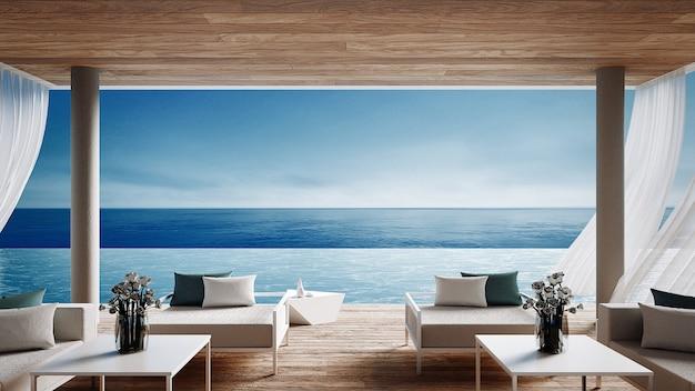 Salon na plaży - willa oceanu z widokiem na morze na wakacje i lato / renderowanie wnętrz 3D Zdjęcie premium