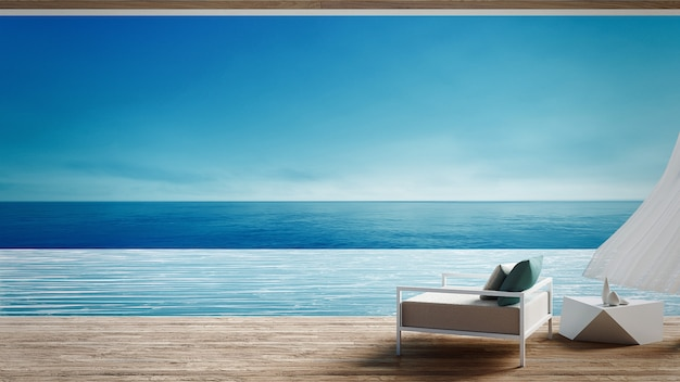 Living beach lounge - ocean villa on sea view for vacation and summer / 3d render interior Premium Photo