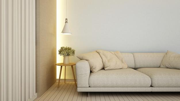 Living room in apartment  or hotel - 3d rendering Premium Photo