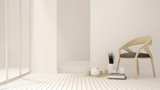 Living room and balcony in apartment or hotel - interior design - 3d rendering Premium Photo