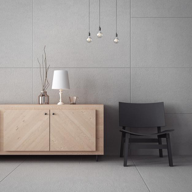 Living room cabinet & concrete wall / 3d rendering interior Premium Photo