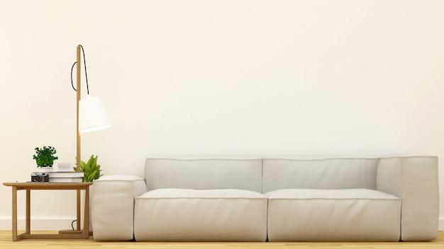 Living room clean design-3d rendering Premium Photo