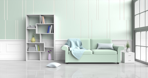 Living room decor green sofa,flower,pillows,bookcase,blanket,window,green -white wall. 3d Premium Photo