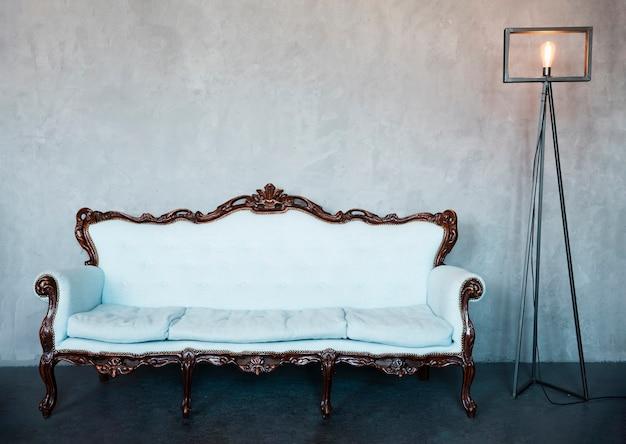 Дизайн гостиной с роскошным диваном Premium Фотографии