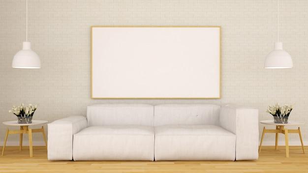 Living room and frame for artwork clean design-3d rendering Premium Photo