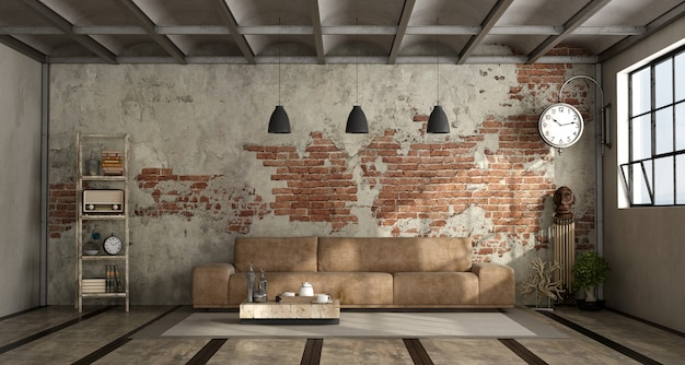 Living room in industrial style Premium Photo