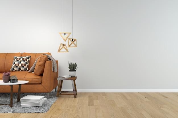 Living room interior background wooden floor Premium Photo