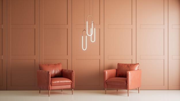 현대적인 스타일의 거실 인테리어 디자인, 복숭아 벽 및 의자, 3d 렌더링 배경 프리미엄 사진