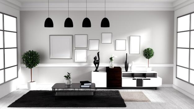 Living Room Interior Design   Scandinavian Style. 3D Rendering Premium Photo