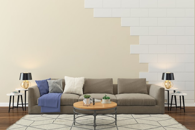 Living room interior house floor template background brick wall Premium Photo