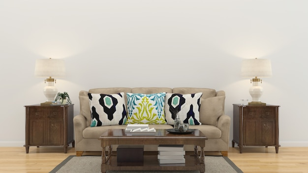 Living room interior house template background Premium Photo