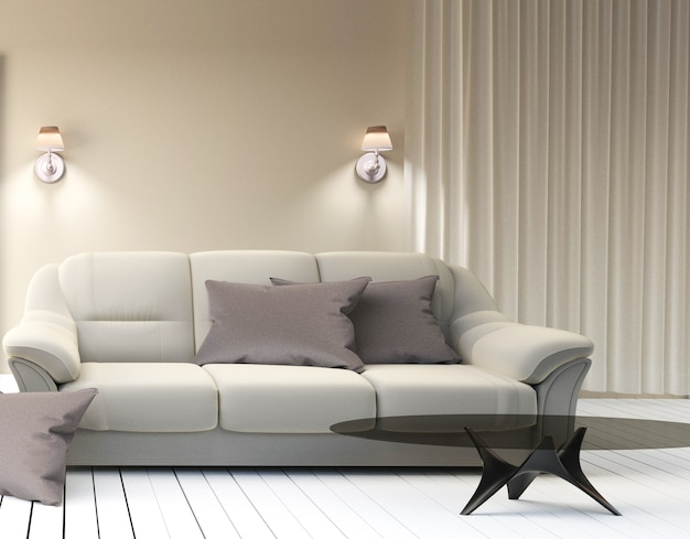 Living room interior - Modern contemporary luxury. 3D rendering ...