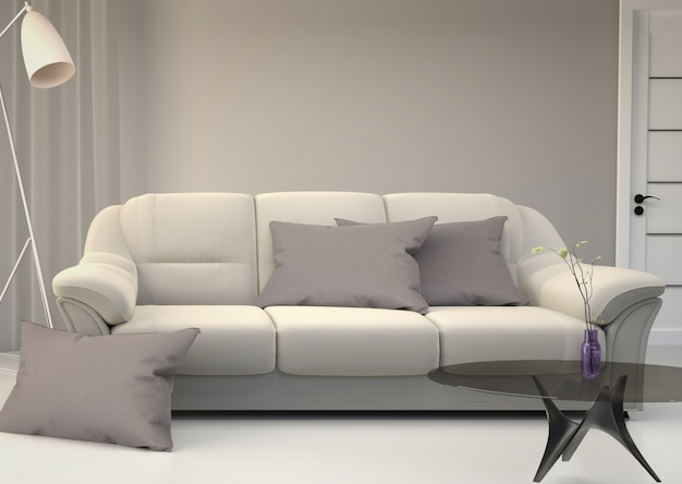Living room interior - room scandinavian style. 3d rendering Premium Photo