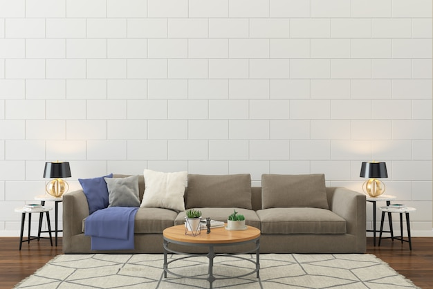 Living room interior wall house floor template background Premium Photo