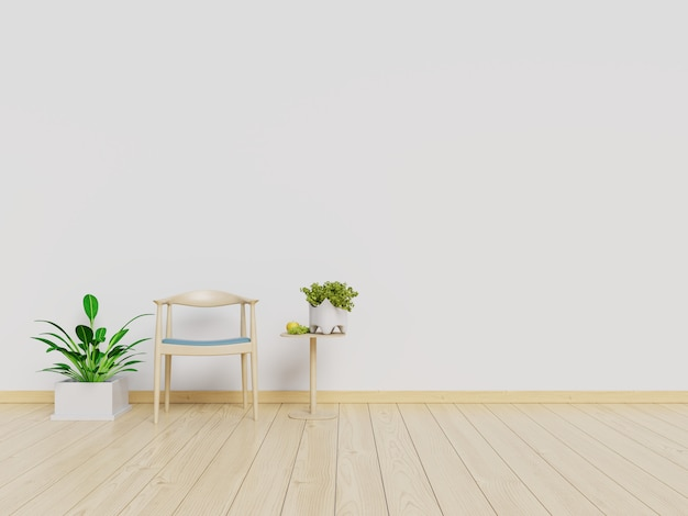 Living room interior wall mock up with armchair and white wall background. 3d rendering. Premium Photo