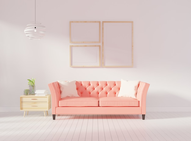 Living room interior wall mock up with pink tufted sofa Premium Photo