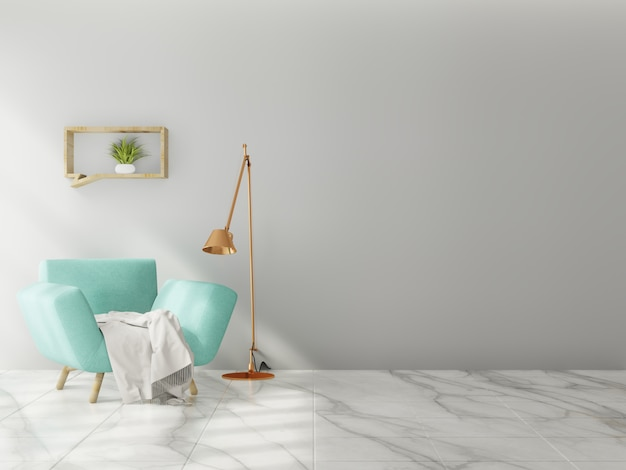 Living room interior wall mock up Premium Photo