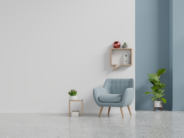 Living room interior wall mockup with blue armchair on empty white wall background. Premium Photo