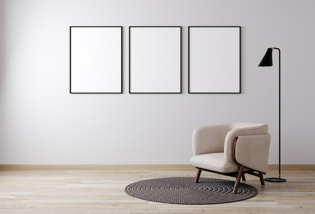 Интерьер гостиной с креслом и растением, белая стена макет фона, гостиная для макета. 3d рендеринг Premium Фотографии