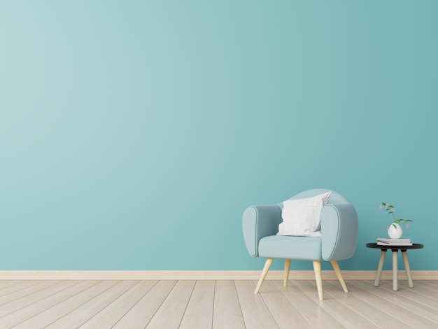 Living room interior with chair, plants, cabinet, on empty blue wall . Premium Photo