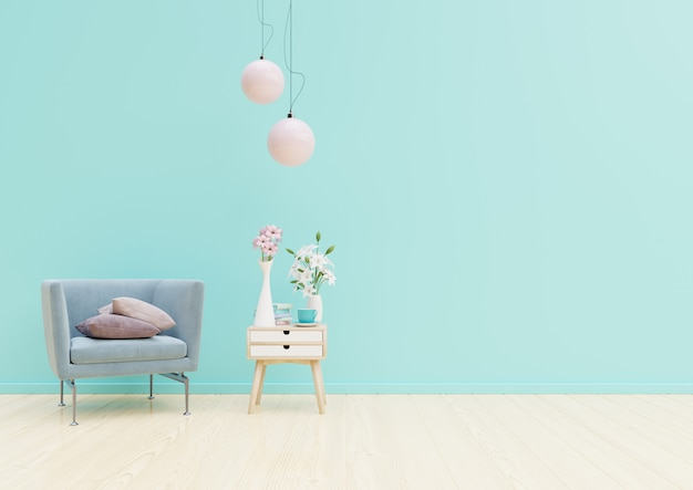 Living room interior with chair, plants, cabinet and lamp on empty blue wall background Premium Photo