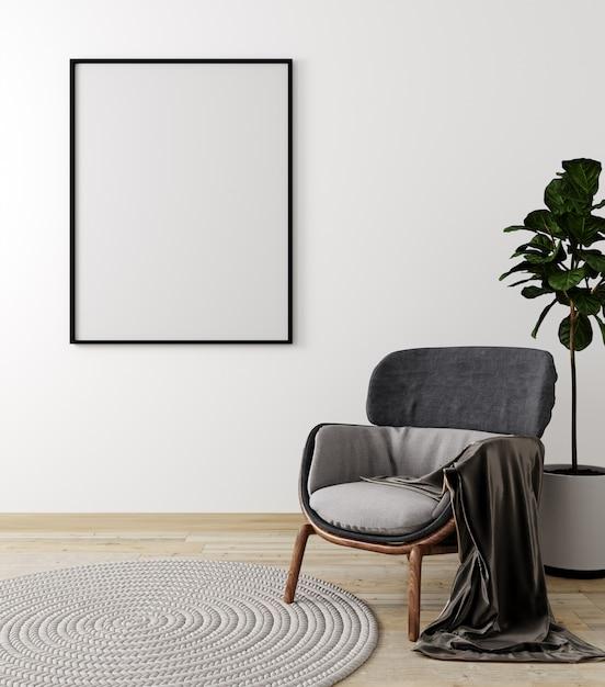 회색 안락 의자와 식물, 흰 벽 배경, 3d 렌더링을 조롱 거실 인테리어 프리미엄 사진