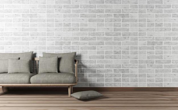 벽돌 벽에 소파와 복사 공간이있는 거실 인테리어, 3d 렌더링 프리미엄 사진