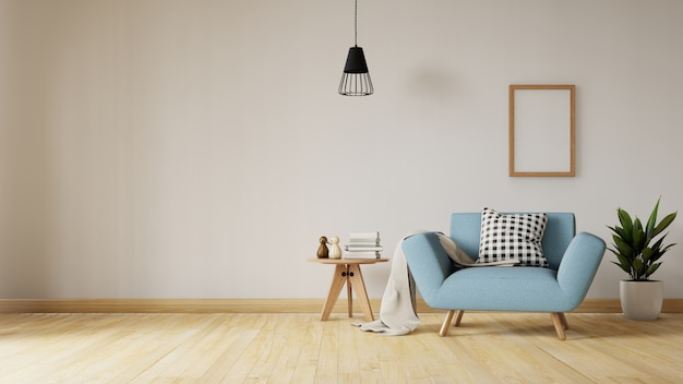Living room interior with velvet blue sofa, table. 3d rendering. Premium Photo