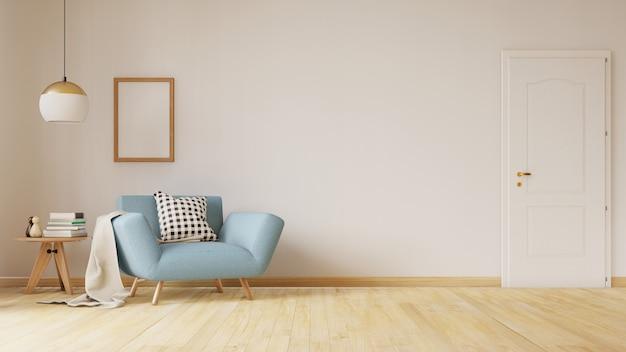Living room interior with velvet sofa, table. 3d rendering. Premium Photo