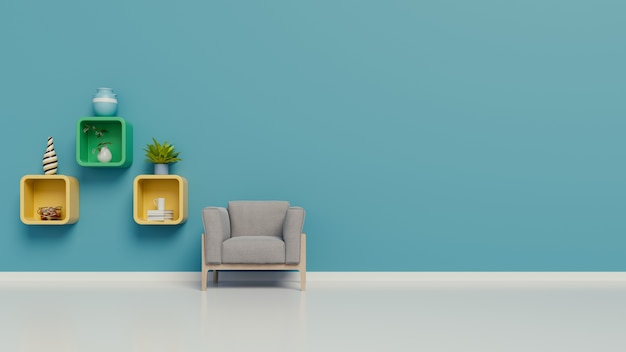 Living room with armchairs and a shelves in the room the wall blue on white background Premium Photo