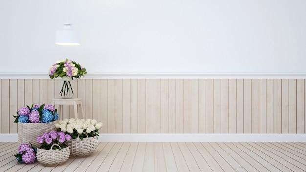 Living room with flowers Premium Photo