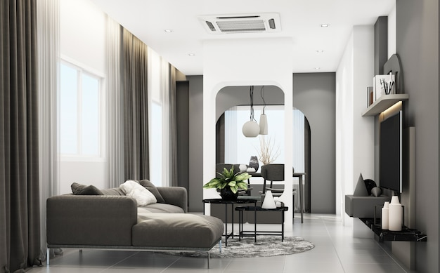 회색 가구와 기하학적 형태가있는 거실은 내장 된 3d 렌더링을 장식합니다. 프리미엄 사진