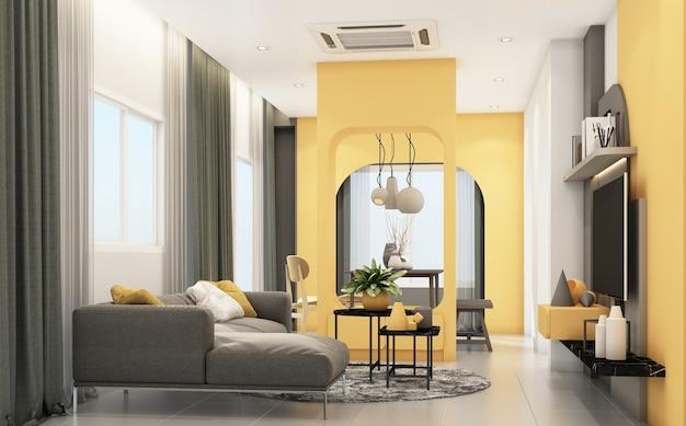 회색 가구와 기하학적 형태가있는 거실은 내장 노란색 3d 렌더링을 장식합니다. 프리미엄 사진