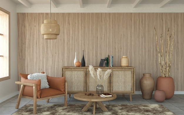 Slatted 나무 벽과 목재 가구, 3d 렌더링 거실 프리미엄 사진