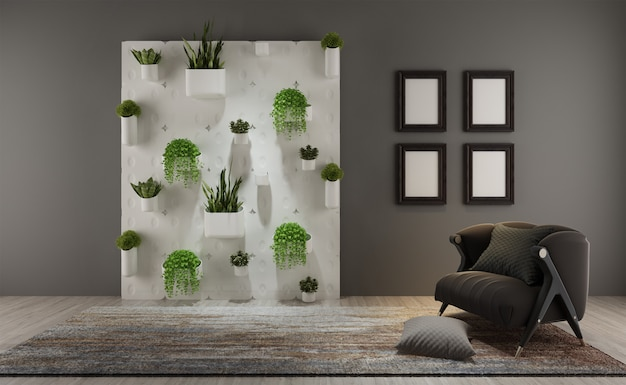 Premium Photo A Living Room With Vertical Garden On The Wall