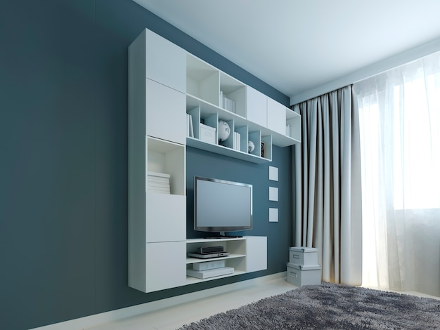 Premium Photo Living Room With Wall Cabinet Trend Of White Wall Cabinets And Tv Near A Window And Wall Painted In Navy Color With Gray Woolen Carpet