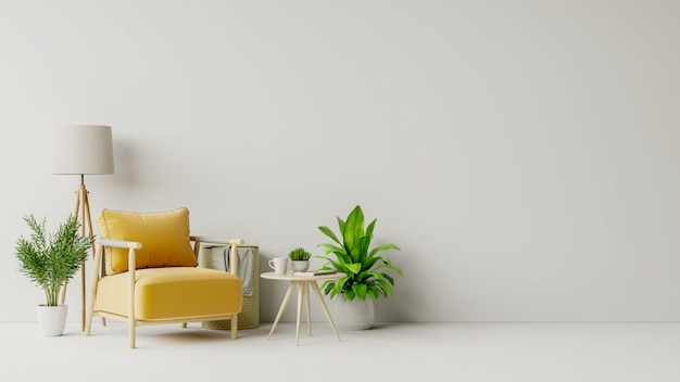 Living room with wooden table, lamps and yellow armchair Premium Photo